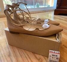 NEW ZARA LACE UP BALLERINA FLATS NUDE LEATHER SIZE 40 (8.5)