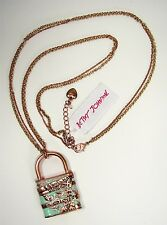 Betsey Johnson Wanderlust Mint Green Map Lovers Pad Lock Rose Gold Tone Necklace