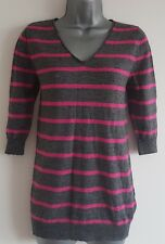 Size 6 Jumper GAP Pink Grey Striped 50% WOOL Fitted 3/4 Sleeves Casual Women's