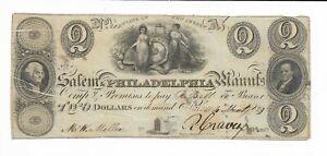 1829 New Jersey Salem Philadelphia Bank Gutter Misprint ERROR Serial #208