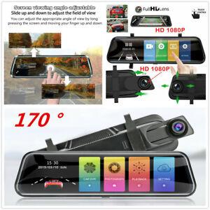 10in Stream Mirror 170° Car DVR Dash Cam Touch Screen Night Vision G-Sensor