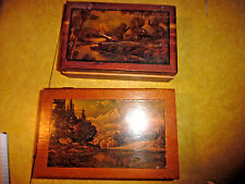 ANTIQUE WOODEN BOXES WITH SCENERY LIDS