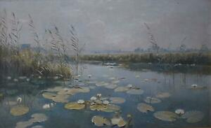 A Lily Pond Antique Oil Painting c1900 Paul Gustave Robinet (Swiss 1845-1932)