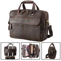 """Vintage Men's Leather 15.6"""" Laptop Briefcases Luggage Shoulder Bag Tote Satchel"""