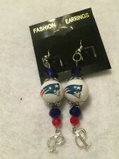 NEW ENGLAND PATRIOTS EARRINGS GLASS BEAD NFL JEWELRY FOOTBALL LOGO COLLECTOR NEW