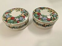 Set 2 Mikasa Japan Christmas Bouquet Round Trinket Candy Box With Lid Holiday