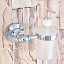 Polished Chrome Wall Mount Soap Dispenser Liquid Hand Wash Bathroom Kitchen