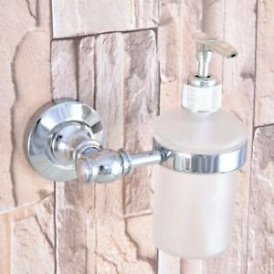 Polished Chrome Wall Mount Soap Dispenser Liquid Hand Wash Bathroom Kitchen