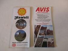 Lot of 2 AAA & Avis Rental Car Hawaii Hawaiian Islands Honolulu Oahu Road Maps