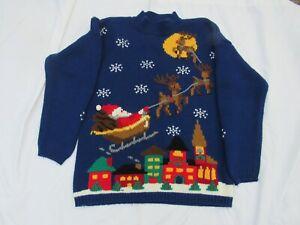 Karen Scott Christmas Sweater Top Women L Santa Sleigh Reindeer Holiday