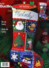 "Bucilla Musical Quilt ~ 18"" Felt Christmas Stocking Kit #84591 Santa Frosty deer"