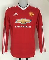 MANCHESTER UNITED 2015/16 L/S HOME SHIRT BY ADIDAS SIZE MEN'S SMALL BRAND NEW