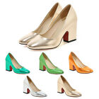 Block heeled Celebrity Metallic Tone High Heels Shoes AU sz 3 4 5 6 7 8 9 10