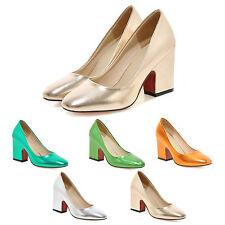 pumps Block heeled Celebrity Metallic Tone party High Heels Shoes Size kala