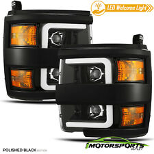 [Polished BLK]For 15-19 Silverado 2500/3500 Projector Headlights+LED DRL+Signal