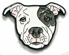 Gray Eyed White Pitbull American Bully Pit Bull Terrier Breed Enamel Lapel Pin