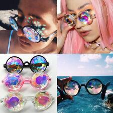 Kaleidoscope Sunglasses Glasses Round Crystal Lens Rave Festival Party Anti-UV