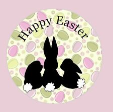 Personalised Stickers Happy Easter Bunny Vintage Shabby Label  de18