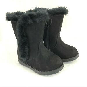 Cat & Jack Toddler Girls Katrina Boots Faux Fur Trim Faux Suede Black Size 5