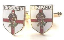 Inglaterra Cruz De San Jorge & Rojo Rosado Esmalte Escudos Gemelos (N41