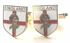 England St George Cross & Red Rose Enamel Crested Cufflinks (N41 Gift Boxed