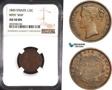 """AD912, Straits Settlements, Victoria, 1/2 Cent 1845 """"With WW"""" NGC AU50BN"""