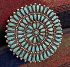 Authentic Vintage Native American Turquoise Petit Point Sterling Silver Pendant