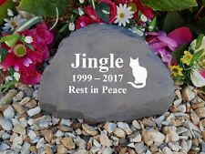 Cat Memorial - Garden Rock (Stone Effect) Personalised - Weatherproof - Large