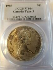 Canadian Canada silver dollar $ 1 Coin 1965 Type 3 MS64 PCGS Certified