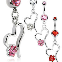 Surgical Steel Dangle Heart Belly Bar / Navel Ring With Multi CZ Paved Flower