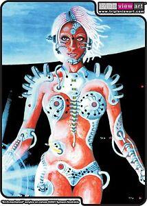 WOMENS T-SHIRT UV-Blacklight Glow-In-The-Dark Psychedelic Psy Goa Trance Club