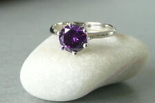 925 STERLING SILVER (HALLMARKED) AMETHYST SOLITAIRE RING - STUNNING - BRAND NEW