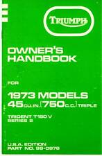 1973 Triumph Trident T150 V, Series 2, OEM Owners' Handbook, FREE SHIPPING