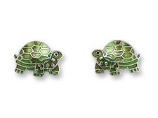 Zarah Zarlite TORTOISE Post EARRINGS Silver Plated Enamel Dangle TURTLE Gift box