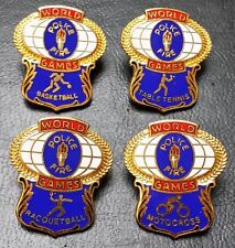 Lot of 4x Vintage World Games Police & Fire Pin - Various Sports