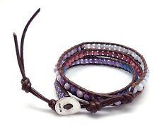 "CHAN LUU Dark Brown Leather Multi Color Quartz Beads on 3 Wrap Bracelet 21 - 23"""