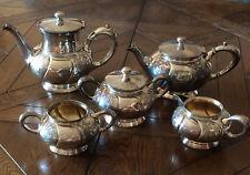5 Pc + Rogers,Smith Quadruple SilverPlate TeaPot, Coffee Urn,Sugar,Cream + Extra