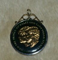 Enamelled crown 1981 Royal Wedding in silver mount, Prince Charles & Lady Diana