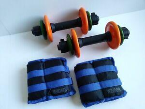 DANSKIN NOW 16 lb Adjustable Dumbbell Weight Set + 2 Weider 5 lb Ankle Weights!
