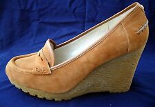 MICHAEL KORS 9-9 1/2 BROWN SUEDE SHOES WEDGES PLATFORM NEW LEATHER FALL