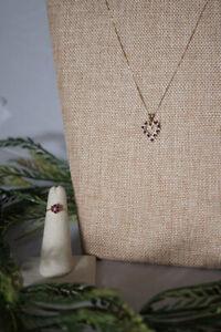 Genuine Ruby & Diamond Necklace/Ring Set
