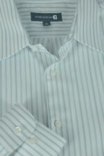 Nordstrom Men's White & Pewter Striped Cotton Dress Shirt 16 x 34/35