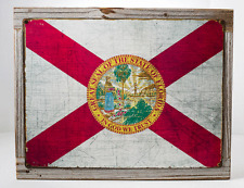 Florida State Flag Metal Sign Framed on Rustic Wood, Americana, Rustic Décor