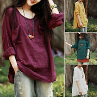 Women Loose Long Sleeve Cotton Linen Crew Neck Tops Casual T-Shirt Blouse Solid