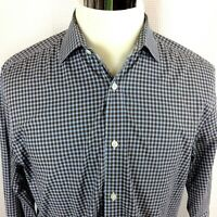 HICKEY FREEMAN Mens Large Long Sleeve Button Front Shirt Brown Blue Checks