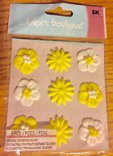 Jolees 3D White Yellow Fondant Icing Flowers Scrapbook Sticker Wedding Hawaiian