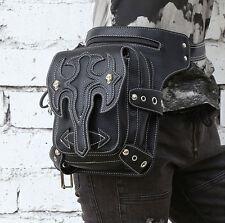 Gothic Steam-punk Rock Schwarz Black Taille Tasche Gürtel Holster Waist Bag PU