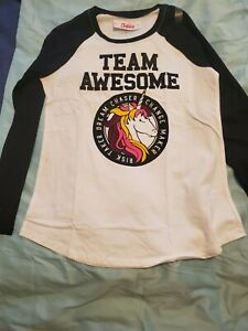 Black and white justice team awesome long sleeve  shirt size 16/18