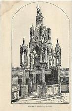Stampa antica VERONA Tomba degli Scaligeri Veneto 1892 Old antique print