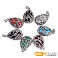 20x30mm Oval Gemstone Beads Tibetan Silver Marcasite Jewelry Charm Pendant